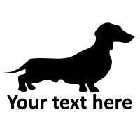 Dachshund Silhouette Vinyl Sticker with Custom Text