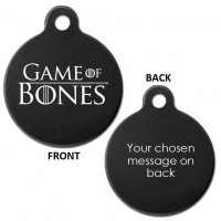 Black Engraved Game of Bones Aluminium 31mm Large Round Pet Dog ID Tag