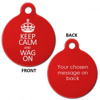 Red Keep Calm and Wag On Aluminium 31mm Large Round Pet Dog ID Tag