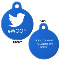 Blue Engraved Twitter Woof Aluminium 31mm Large Round Pet Dog ID Tag