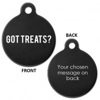 Black Engraved Got Treats? Aluminium 31mm Large Round Pet Dog ID Tag