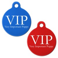 VIP Engraved Aluminium 31mm Large Round Pet Dog ID Tag