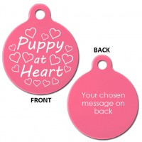 Pink Engraved Puppy at Heart Aluminium 31mm Large Round Pet Dog ID Tag