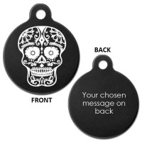 Black Engraved Mexican Skull Aluminium 31mm Large Round Pet Dog ID Tag