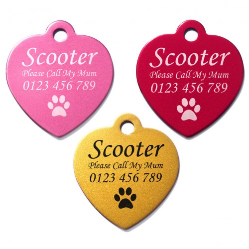 Large 35mm Heart Personalised Laser Engraved Aluminium Pet Dog Cat Tag