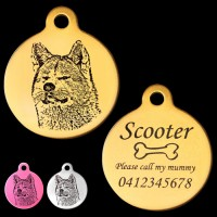 Akita Engraved 31mm Large Round Pet Dog ID Tag