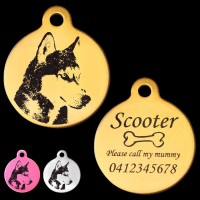 Alaskan Husky Style A Engraved 31mm Large Round Pet Dog ID Tag