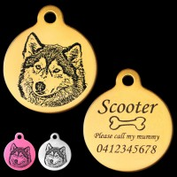 Alaska Husky Style B Engraved 31mm Large Round Pet Dog ID Tag