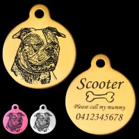 American Bulldog Engraved 31mm Large Round Pet Dog ID Tag