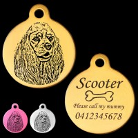 American Cocker Spaniel Front View Engraved 31mm Large Round Pet Dog ID Tag
