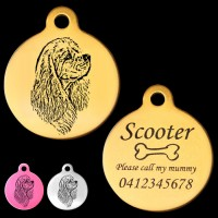 American Cocker Spaniel Side View Engraved 31mm Large Round Pet Dog ID Tag