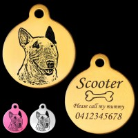 Australian Bull Terrier Engraved 31mm Large Round Pet Dog ID Tag