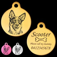 Australian Cattle Dog Engraved 31mm Large Round Pet Dog ID Tag
