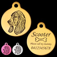 Basset Hound Engraved 31mm Large Round Pet Dog ID Tag