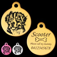 Bernese Mountain Dog Engraved 31mm Large Round Pet Dog ID Tag