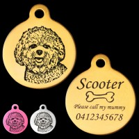 Bichon Frise Engraved 31mm Large Round Pet Dog ID Tag
