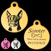 Boston Terrier Engraved 31mm Large Round Pet Dog ID Tag