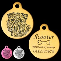 Brussels Griffon Engraved 31mm Large Round Pet Dog ID Tag
