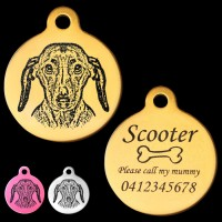Dachshund Engraved 31mm Large Round Pet Dog ID Tag