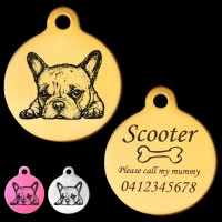 French Bulldog Puppy Engraved 31mm Large Round Pet Dog ID Tag