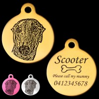 Greyhound Engraved 31mm Large Round Pet Dog ID Tag