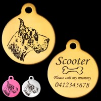 Great Dane Engraved 31mm Large Round Pet Dog ID Tag