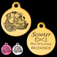 Black Labrador Engraved 31mm Large Round Pet Dog ID Tag