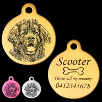 Leonberger Engraved 31mm Large Round Pet Dog ID Tag