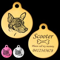 Miniature Fox Terrier Engraved 31mm Large Round Pet Dog ID Tag