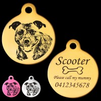 Cheeky Staffordshire Terrier Engraved 31mm Large Round Pet Dog ID Tag