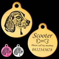Beagle Engraved 31mm Large Round Pet Dog ID Tag