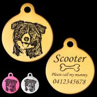 Border Collie Engraved 31mm Large Round Pet Dog ID Tag