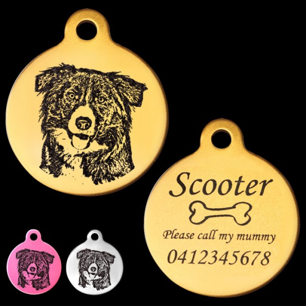 Border collie engraved tag kokopetart border collie engraved 31mm large round pet dog id tag sciox Choice Image