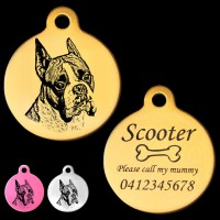 Boxer Cropped Ear Engraved 31mm Large Round Pet Dog ID Tag