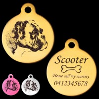 Boxer Natural Ear Engraved 31mm Large Round Pet Dog ID Tag