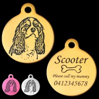 Cavalier King Charles Spaniel Style A Engraved 31mm Large Round Pet Dog ID Tag