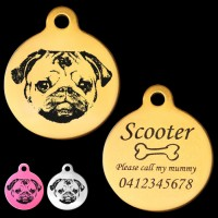 Pug Engraved 31mm Large Round Pet Dog ID Tag