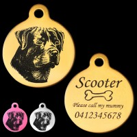 Rottweiler Engraved 31mm Large Round Pet Dog ID Tag
