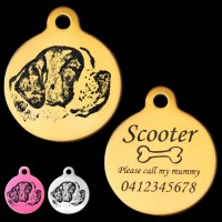 St Bernard Engraved 31mm Large Round Pet Dog ID Tag