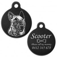 Australian Bull Terrier Black Engraved 31mm Large Round Pet Dog ID Tag
