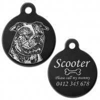 American Bulldog Black Engraved 31mm Large Round Pet Dog ID Tag