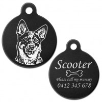 Australian Cattle Dog Black Engraved 31mm Large Round Pet Dog ID Tag