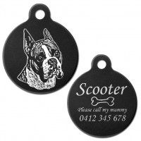Boxer Cropped Ear Black Engraved 31mm Large Round Pet Dog ID Tag