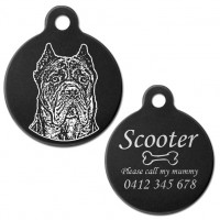 Cane Corso Italian Mastiff Black Engraved 31mm Large Round Pet Dog ID Tag
