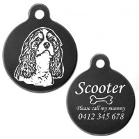 Cavalier King Charles Spaniel Style A Black Engraved 31mm Large Round Pet Dog ID Tag