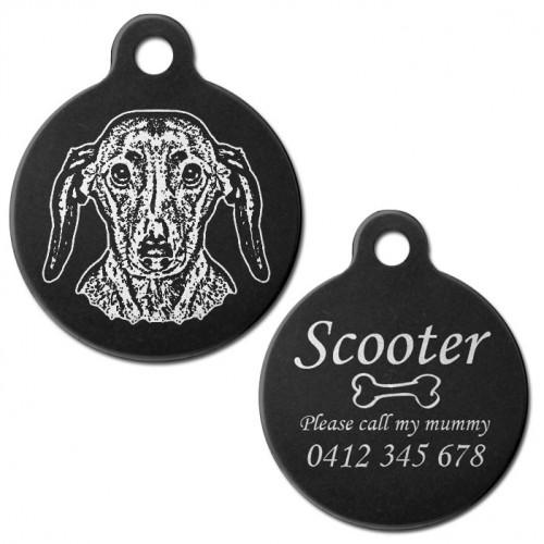 Dachshund Black Engraved 31mm Large Round Pet Dog ID Tag