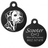 Dalmatian Black Engraved 31mm Large Round Pet Dog ID Tag