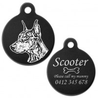 Doberman Cropped Ear Black Engraved 31mm Large Round Pet Dog ID Tag