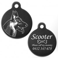 German Shepherd Black Engraved 31mm Large Round Pet Dog ID Tag
