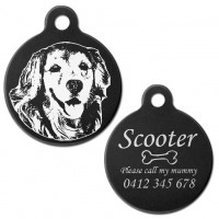 Golden Retriever Black Engraved 31mm Large Round Pet Dog ID Tag